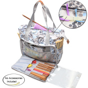 Teamoy Knitting Shoulder Bag, Yarn Storage Tote for Yarn and Unfinished Project, High Capacity and Lightweight, Easy to Carry Crochet Hooks, Knitting Needles and Accessories