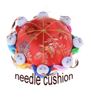 Waterstone Oriental Needle Pin Cushion with 8 Kids, Red, Chinese Style Fabric Coated Fully Padded Pin Storage, Sewing Accessories