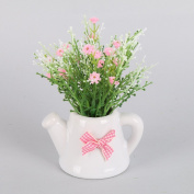 Shiningup Mini Artificial Fake Gypsophila Real Touch Flowers with Cute Lovely White Ceramic Pots for Home Wedding Party Decoration