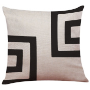 Indexp Black & White Retro Cushion Cover, Cotton Linen Room Sofa Printed Pillow Case