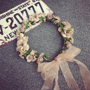 Bride Wreath Headband,Women Girls Adjustable Artificial Flower Bohemian Exquisite Wreath Hairband By Sunshine D Headband Floral Crown Garland Halo for Wedding Party Festivals, Wedding Bride Hair Accessories Hat Ornament Photography Vocation Performance