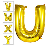 Takefubs 100cm Giant Jumbo Gold Helium Foil Mylar Balloons Alphabet A-Z Aluminium Letter Balloons For Birthday Party Decorations,Matte Gold,Letter U