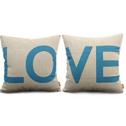 Indexp 2 pcs LOVE Printing Cotton linen Throw Cushion Cover, Sofa Home Decoration Pillow case