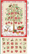 Traditional Christmas Advent Calendar Cotton Quilting Panel Fabric Makower