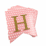 SIFAN Pink Dots Birthday Banners, Gold Birthday Party Supplies