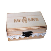 OUNONA Wooden Ring Box Mr Mrs Carving Rustic Style for Wedding Ring Holder 10*6*5 cm