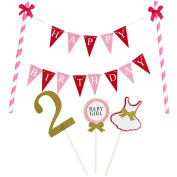 KUNGYO Mini Happy Birthday Cake Bunting Banner Cake Topper Garland - Handmade Pennant Flags 2nd 2 Years Baby Girl Birthday Party Cake Decoration Supplies