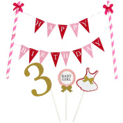 KUNGYO Mini Happy Birthday Cake Bunting Banner Cake Topper Garland - Handmade Pennant Flags 3rd 3 Years Baby Girl Birthday Party Cake Decoration Supplies