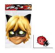 Mask Pack - Cat Noir from Miraculous Single 2D Card Party Face Mask - includes 6x4 inch (15cm x 10cm) Star Photo