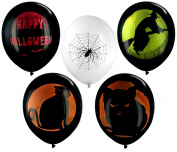 Pack of 10 Black Spooky Assorted Halloween 28cm Latex Balloons - Featuring Witches, Cats, Spider Webb's and Happy Halloween Design - Coordinate with other Halloween Party Supplies.