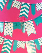 0.9m x 3m Teal and White Spot and Stripe Reversible Flag Bunting *SPECIAL OFFER*