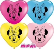 Minnie Mouse Face Assorted Qualatex 15cm Heart Shaped Latex Balloons x 20