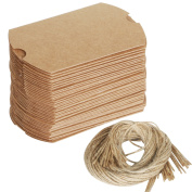 TRIXES Rustic Wedding favour boxes 100PC Set with Twine DIY Make your own pillow gift boxes brown