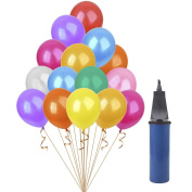 HusDow 120pcs Assorted Colours Party Balloons,30cm Latex Balloon with a Balloon Pump for Wedding,Birthday, Party and Anniversary and other celebrations