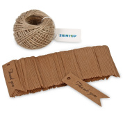 Shintop Thank You Tags - 100pcs Kraft Paper Gift Tags Gift Labels Wedding Tags for Favours with Free 30m Natural Jute Twine