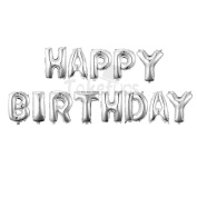 "41cm with 13 Letters""HAPPY BIRTHDAY"" Thickening Silver Mylar Air-filled Banner Balloons for Birthday & Party & Anniversary"