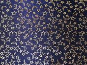 Metallic Foil Moon & Stars Print Satin Dress Fabric Navy Blue - per metre