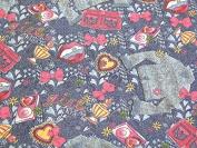 Girl Power Print Soft Denim Dress Fabric Multicoloured - per metre