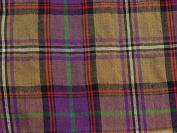 Cotton & Wool Blend Tartan Cheque Voile Dress Fabric Mustard & Purple - per metre