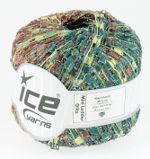 LADDER YARN by Ice Yarns No 46800 Green/Brown/Silver/Lurex mix.+ Free Scarf Pattern