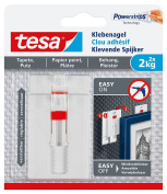 tesa Adhesive Nails for Wallpaper and Plaster, Adjustable, Highly Adhesive, Pack of 2, 2 kg / 3er Pack = 6 Nägel