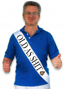 """Old As Sh*t"" White Satin Sash - Birthday and Retirement Party Supplies, Ideas, Gifts and Decorations"