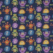 Blue Themed Monster Mayhem Design from Fabric Freedom – 100% Cotton British Designed Craft Fabric for Patchwork & Quilting, Lovely Coordinated Colours & Prints – (Price per /QUARTER Metre)
