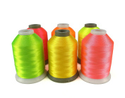 Simthreads 6 Neon Colours Polyester Embroidery Thread, 1100 Yrds Each