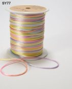 Pastel colour Variegated Satin Rats Tail String by May Arts on a 3m Roll