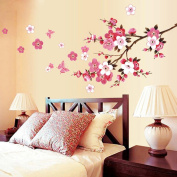 Wall Sticker, Chshe Peach Blossom Flower Butterfly Removable Wall Decal Family Room Home Sticker Mural Art Home Decor for Living Room Bedroom TV Background Wall