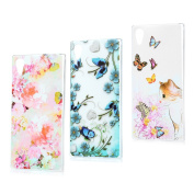 Sony Xperia XA1 Case,Badalink 3 Pcs Colourful Painting Drop Protection Slim Fit Soft Gel Thin Crystal Clear TPU Rubber Scratch-Resistant Anti-Slip Shockproof Absorption Cover for Sony Xperia XA1 - Set 1