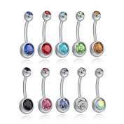 Ruikey 10pcs Stainless Steel Belly Button Ring Jewellery Piercing Imitation Diamonds Assorted Colours