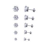 Ruikey Womens Stud Earring Stainless Steel Pierced Cubic Zirconia Diamond Rhinestone Ear Studs 6Paris,3mm-8mm