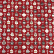 "Printed Cotton Christmas Baubles Red Fabric for Tablecloths, Decor, & Craft 58"" 145cm Wide - Sold by the Metre"