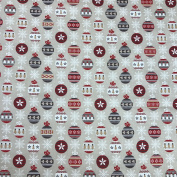 "Printed Cotton Christmas Baubles Beige Fabric for Tablecloths, Decor, & Craft 58"" 145cm Wide - Sold by the Metre"