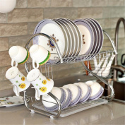 Dish Plates Cups Drainers 2 Tier 304 Stainless Steel Mug Holder Cutlery Drainer Rack Holder Shelf Storage Cooking and Dining