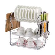 Ahui Dish Plates Cups Drainers 3 Tier Chromed Mug Holder Cutlery Drainer Rack Holder Shelf Storage Cooking and Dining , A