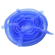 J*myi 6pcs Silicone Cover Suction Lid-bowl Pan Cooking Pot Lid-silicon Stretchable Lid Blue