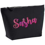 Sasha Personalised Name Cotton Canvas Black Make Up with a Holographic Pink Print Accessory Bag Wash Bag Size 14x20cm. The perfect personalised Gift for All occasion, Christmas, Birthdays,