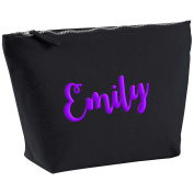 Emily Personalised Name Cotton Canvas Black Make Up Accessory Bag Wash Bag Size 14x20cm. The perfect personalised Gift for All occasion, Christmas, Birthdays,