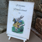 Alice in Wonderland Distressed Welcome to Wonderland card and easel Wedding Party