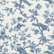 The Regal Birds fabric - Oxford Blue on an Alabaster base cloth | 100% Cotton Designer Print | 160 cm (63 inches) wide | Per half metre length increment*