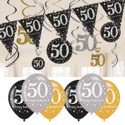 50th Birthday Decorations Black and Gold
