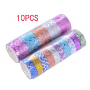 Dosige Glitter Tape Multicolor Pattern Paper Adhesive Tape Masking DIY Decorating Stickers 10Pcs