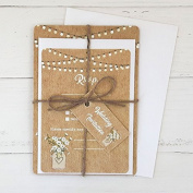 Rustic Mason Jar Flowers - Wedding Invitations & RSVP - Pack of 10