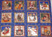 Christmas Teddy Squares Panels Cotton Quilting Fabric