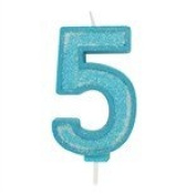 Blue Sparkle Numeral Candle - Number 5 - 70mm