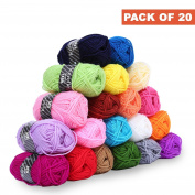 Acrylic Yarn Knitting Wool Pack Set - Assorted colours - Pack Of 20 Skeins Bundles- Perfect For Hobbies, Arts & Crafts For Kids, Sewing, Hand-Knitted Works, colourful 40 Metres Of Yarn, 20 X 25g Balls