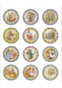 12 Large 50mm Circle Vintage Peter Rabbit Edible Wafer Paper Cake Toppers