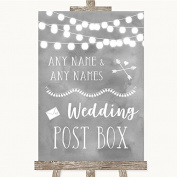 Grey Watercolour Lights Card Post Box Personalised Wedding Sign